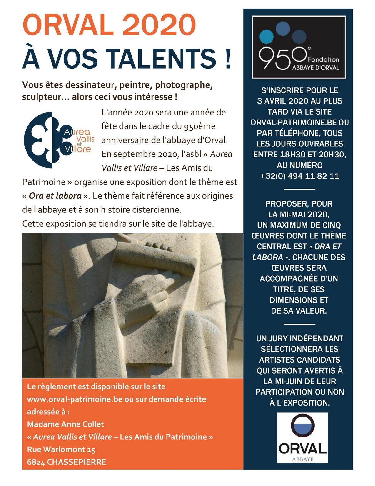 Orval 2020 - Exposition - Appel aux artistes